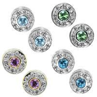 Michael Valitutti 14k White Gold Round Gemstone Diamond Accent Earrings