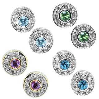 Michael Valitutti 14k White Gold Round Gemstone Diamond Accent Earrings