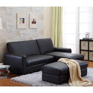 the Hom Aerie 3 piece Black Bi cast Leather Sectional Sofa Bed with Ottoman Coffee Table and