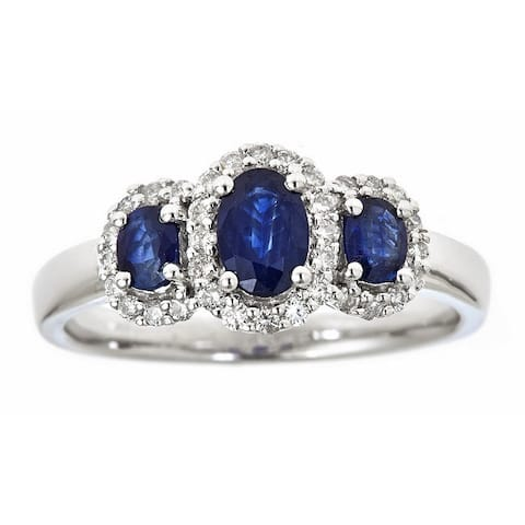 Anika and August 14k White Gold Oval Blue Sapphire 1/4ct TDW Diamond 3-stone Ring (G-H, I1-I2) (Size