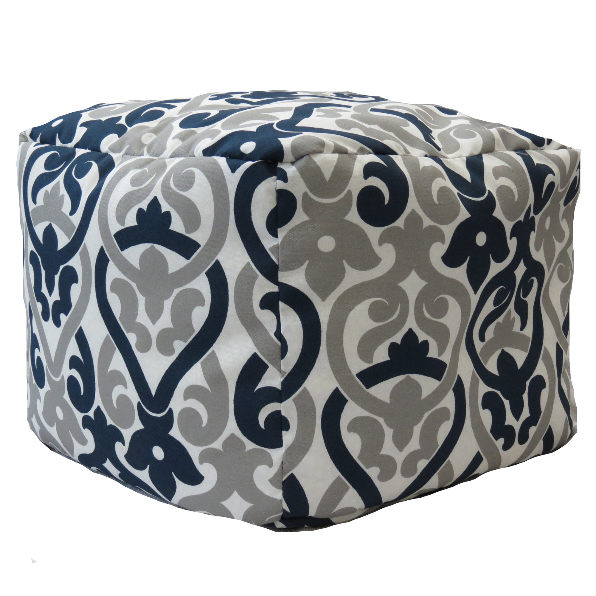 Premiere Home Indoor Outdoor Alex Oxford Grey 17 Inch Square Pouf Footstool Overstock 10078015