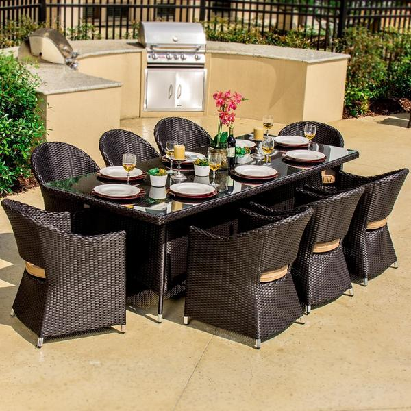 Lakeview Outdoor Designs Providence 8 Person Resin Wicker Patio Dining Set