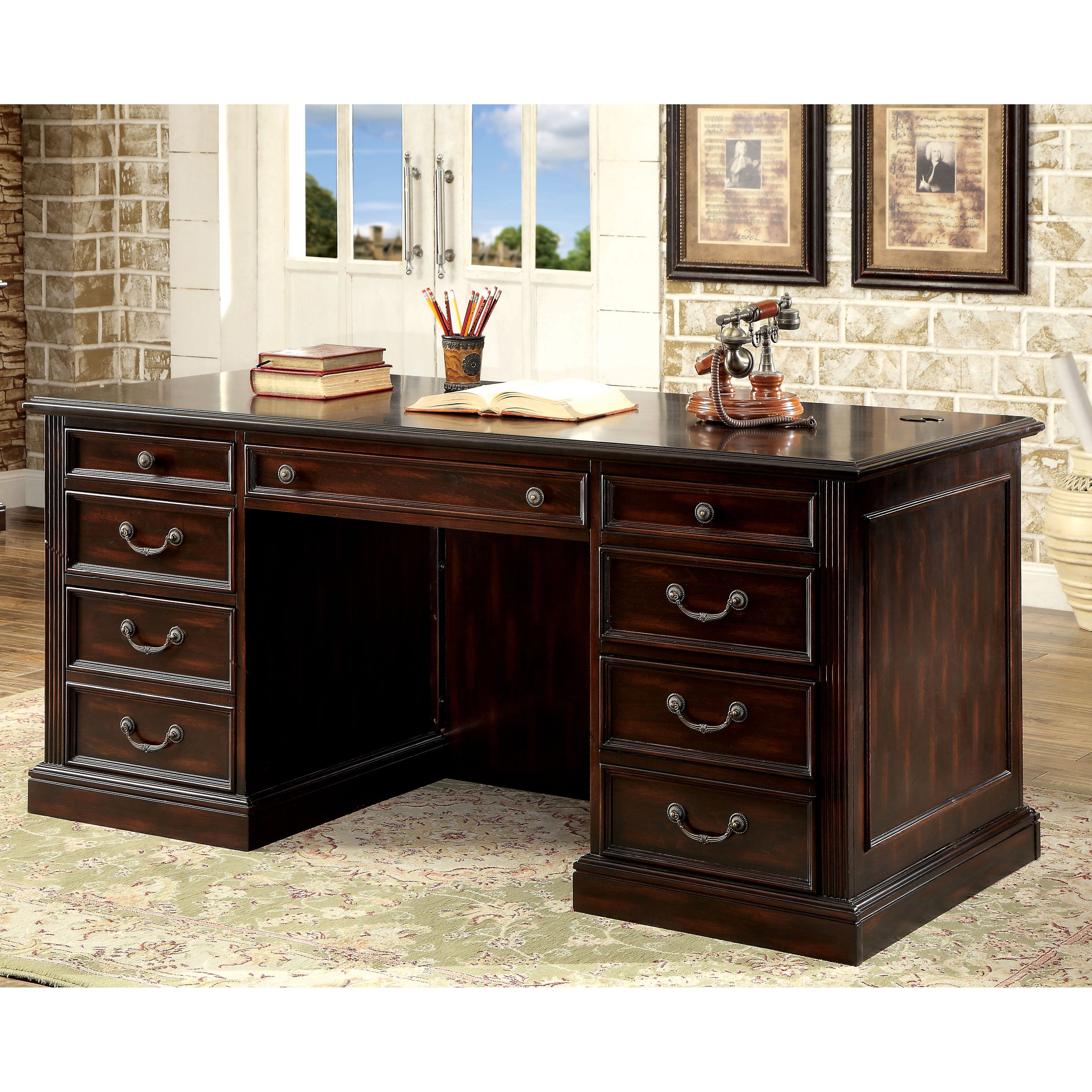 Furniture of America Rame Traditional Cherry 66-inch Executive Desk