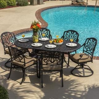 Lakeview Outdoor Designs 6-person Rosedown Cast Aluminum Patio Dining Set with Cast Aluminum Table