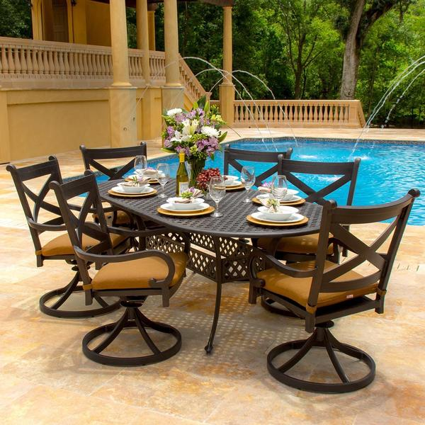Lakeview Outdoor Designs Avondale 6 Person Cast Aluminum Patio Dining Set