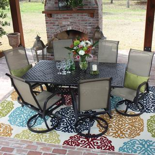 Lakeview Outdoor Designs Madison Bay Sling Patio 6-person Dining Set with Cast Aluminum Table