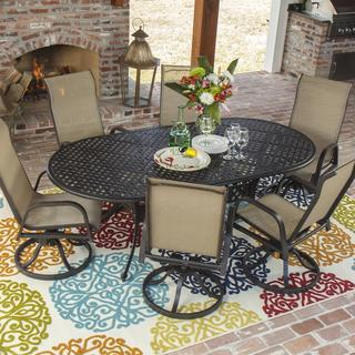 Madison Bay 6-person Sling Patio Dining Set with Cast Aluminum Table