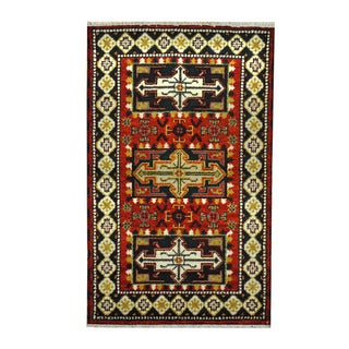 Herat Oriental Indo Hand-knotted Tribal Kazak Red/ Ivory Wool Rug (3'1 x 5')