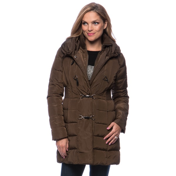 Jessica Simpson Women's Toggle Closure Pillow Collar Down Coat