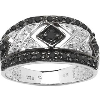 Malaika Sterling Silver 1/3ct TDW Black and White Diamond Ring