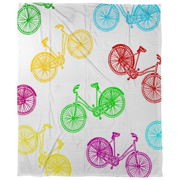 Neon Party Bike Pattern Coral Fleece Throw
