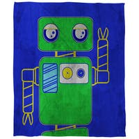 Neon Party Blue Robot Coral Fleece Throw