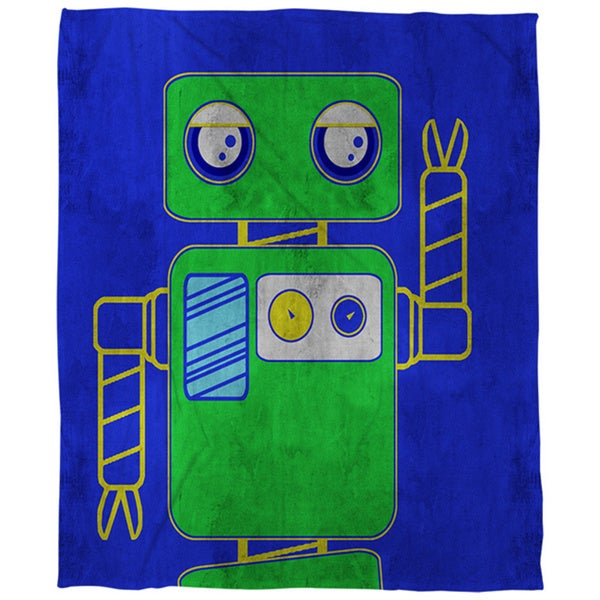 Neon Party Blue Robot Coral Fleece Throw