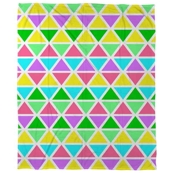 Neon Party Geo Pattern Coral Fleece Throw