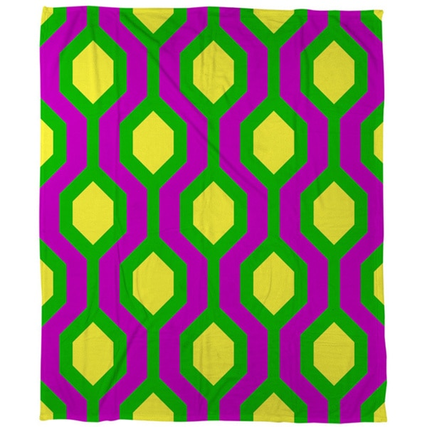 Neon Party Honeycomb Pattern Coral Fleece Throw