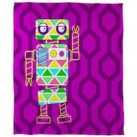 Neon Party Fuchsia Robot Coral Fleece Throw