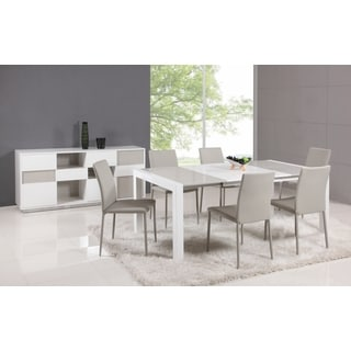 White/Gray Parson Extendable 5-Piece Dining Set