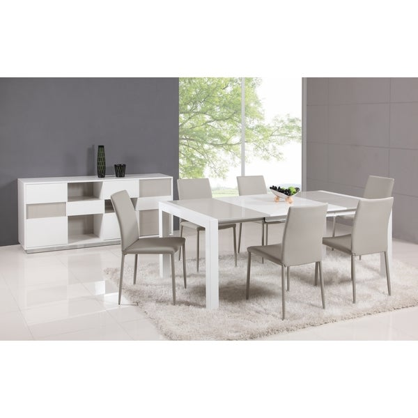 Cheap Dinette Sets Free Shipping: Shop White/Gray Parson Extendable 5-Piece Dining Set