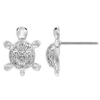 Silvertone Cubic Zirconia Turtle Stud Earrings