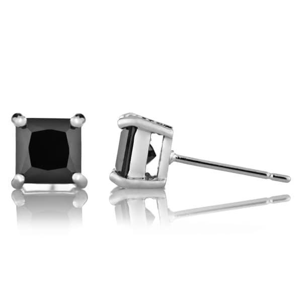 Silvertone Black Square-cut Cubic Zirconia Stud Earrings