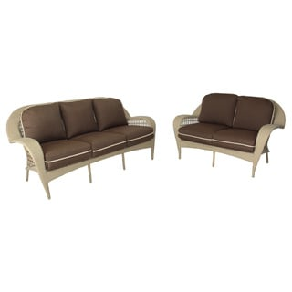 Somette Sierra Outdoor Wicker Sofa and Loveseat Set with Brown Cushions