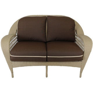 Somette Sierra Outdoor Loveseat with Brown Cushion