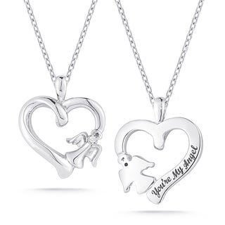 Sterling Silver Diamond Accent Open Heart and with Angel Pendant
