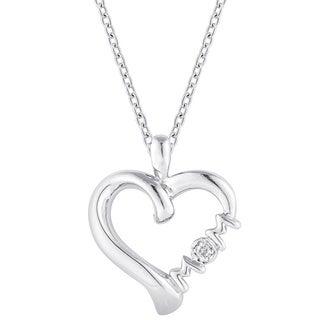 "Sterling Silver Diamond Accent Mom Heart Necklace with ""Unconditional Love"""