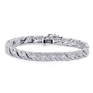 Divina Rhodium Overlay 1/4ct TDW Diamond Bracelet (I-J, I2-I3)