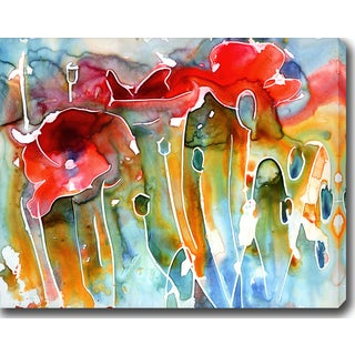 Wassily Kandinsky 'Poppy Field' Oil on Canvas Art