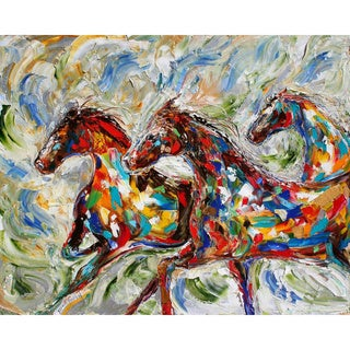 'Running Horses' Oil on Canvas Art