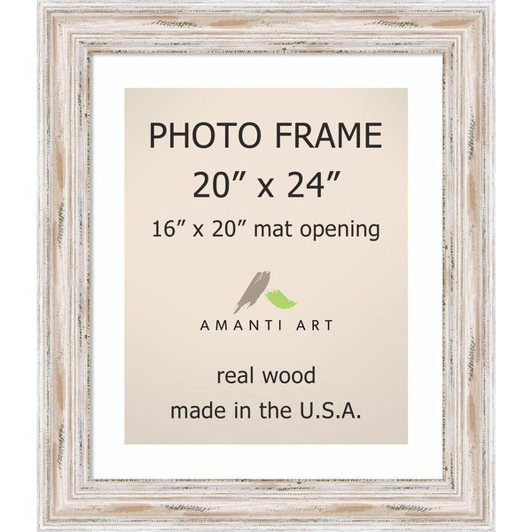 alexandria whitewash photo frame 20x24 matted to 16x20 25 x 29 inch