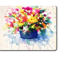 'Watercolor Flowers' Oil on Canvas Art