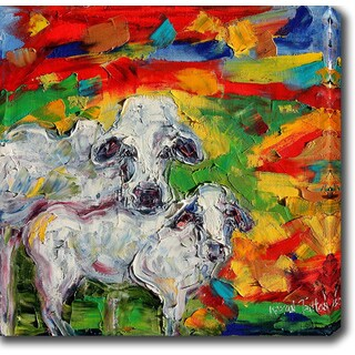 'Cow - Mother and Calf' Oil on Canvas Art - Multi