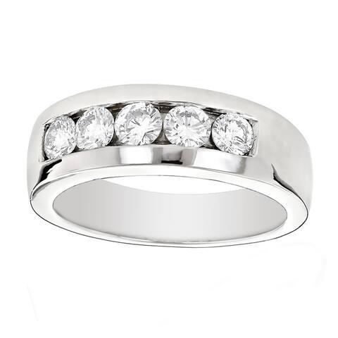 Platinum Men's 1ct Diamond Wedding Band by Luxurman