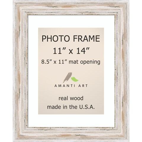 Alexandria Whitewash Photo Frame 11x14, Matted to 8.5x11' 14 x 17-inch