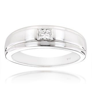 Luxurman 14k White Gold Princess-cut Diamond Solitaire Wedding Band (H-I, SI1-SI2)