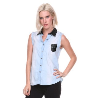 Stanzino Women's Sleeveless Denim Shirt