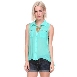 Stanzino Women's Sleeveless Chiffon Button Down Shirt
