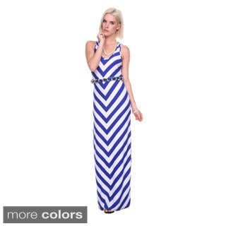 Stanzino Women's Belted Chevron Tank Maxi Dress