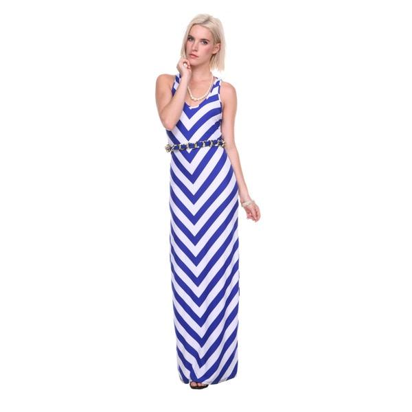 Stanzino Women's Belted Chevron Tank Maxi Dress