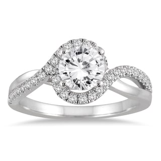 Marquee Jewels 14k White Gold 1 1/6c TDW Diamond Halo Engagement Ring (I-J, I2-I3)