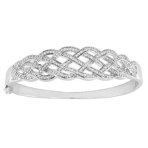 Divina Rhodium Overlay 1/4ct TDW Diamond Bangle Bracelet - White I-J