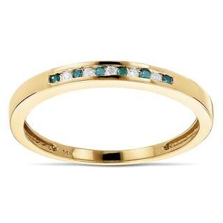 Luxurman 14k Gold 1/8ct TDW White and Blue Diamond Thin Band