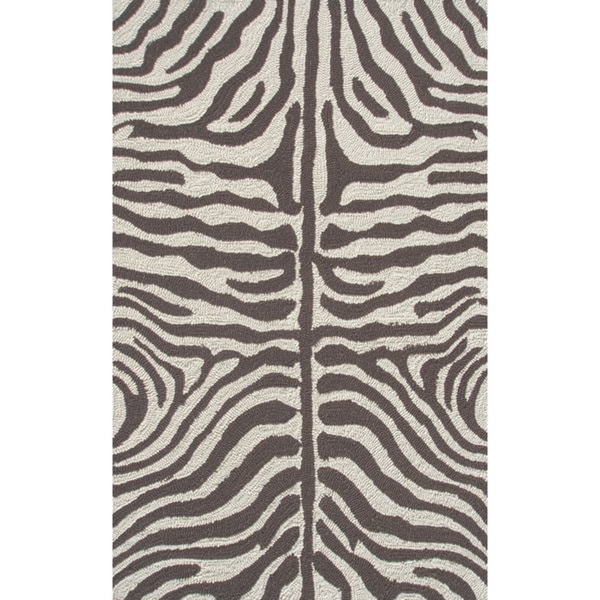 Shop Zebra Brown Hand-hooked Brown Area Rug