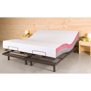 t motion 10 inch split king size adjustable bed set with two techno