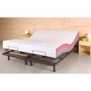 T-Motion 10-inch Split King-size Adjustable bed Set with Two Techno Core Pillows