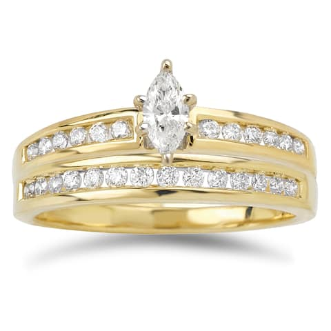 Avanti 14k Yellow Gold 2/5ct TDW Marquise and Baguette Diamond Bridal Ring Set