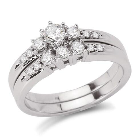 Avanti 14k White Gold 1/2ct TDW Diamond 3-stone Bridal Ring Set