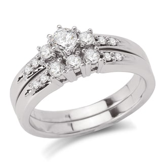 Avanti 14k White Gold 1/2ct TDW Diamond 3-stone Bridal Ring Set (G-H, SI1-SI2)